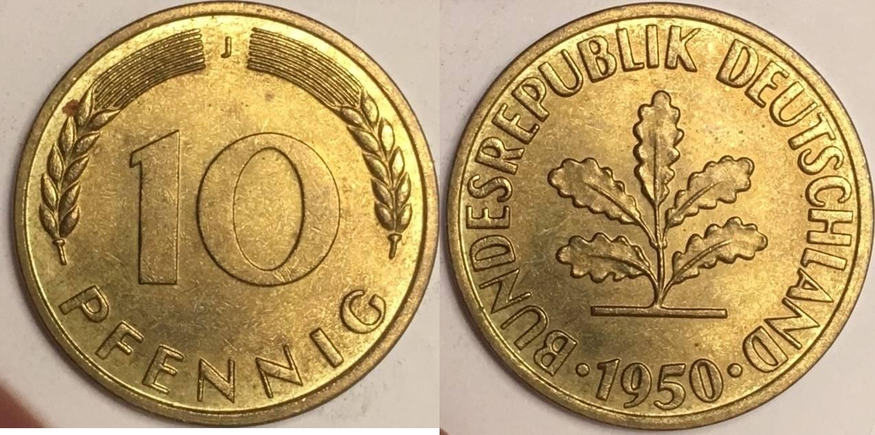 10 Pfennig 1950 J Bundesrepublik Ma Shops