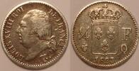 1/4 Franc 1823 Q France / Frankreich Louis XVIII Schön-Sehr schön  220,00 EUR  zzgl. 12,00 EUR Versand