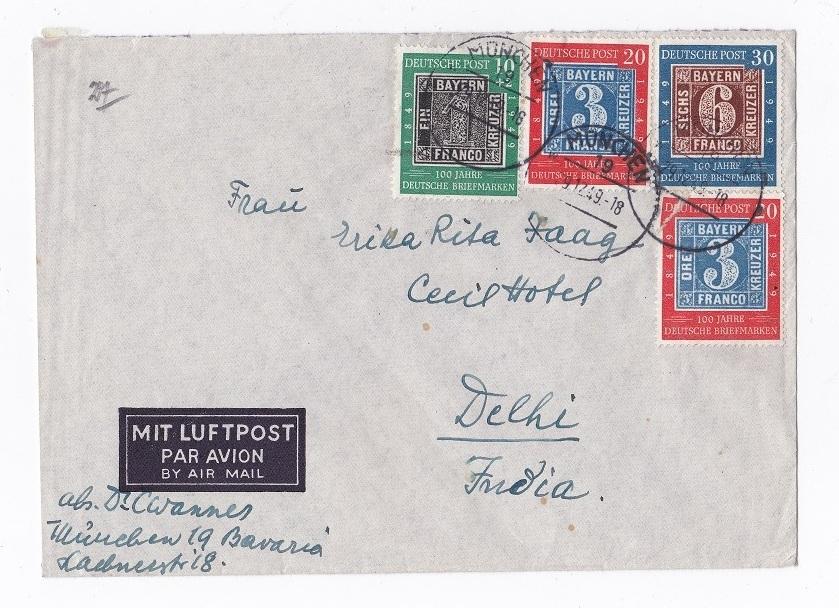 Brief 1949 Brd Brief Mit 4 Briefmarken Quot100 Jahre Deutsche