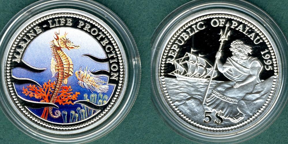 5 Dollars 1995 Palau Meeresfauna, Seepferdchen --coloriert-- PP