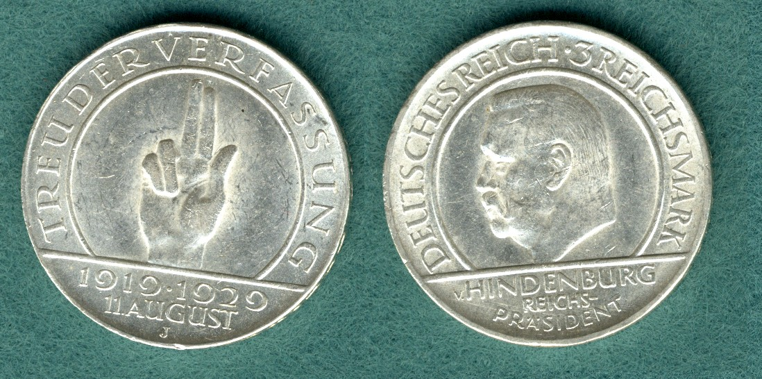 3 Reichsmark 1929 J Weimarer Republik Verfassung vz