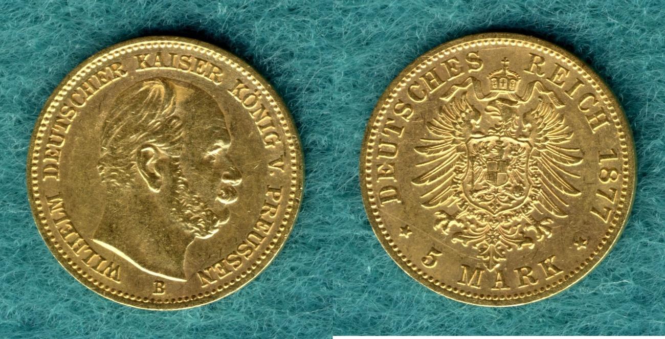 5 Mark 1877 B Preussen Wilhelm I. ss/vz