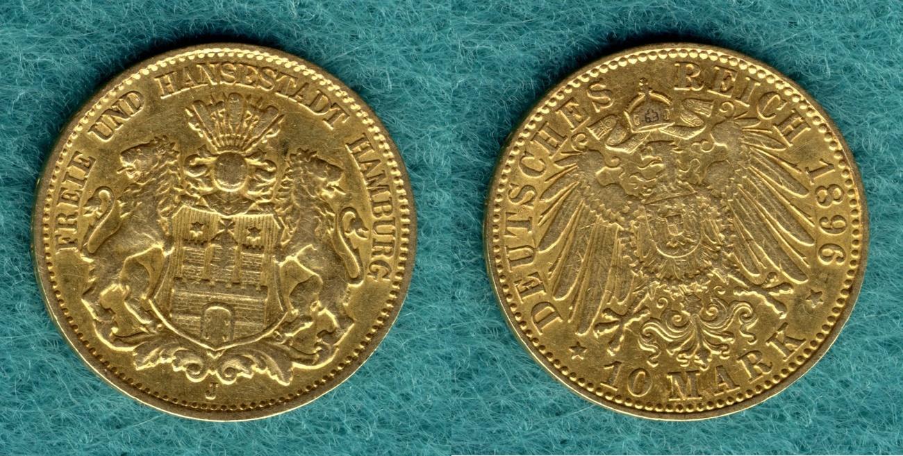 10 Mark 1896 J Hamburg Stadtwappen ss