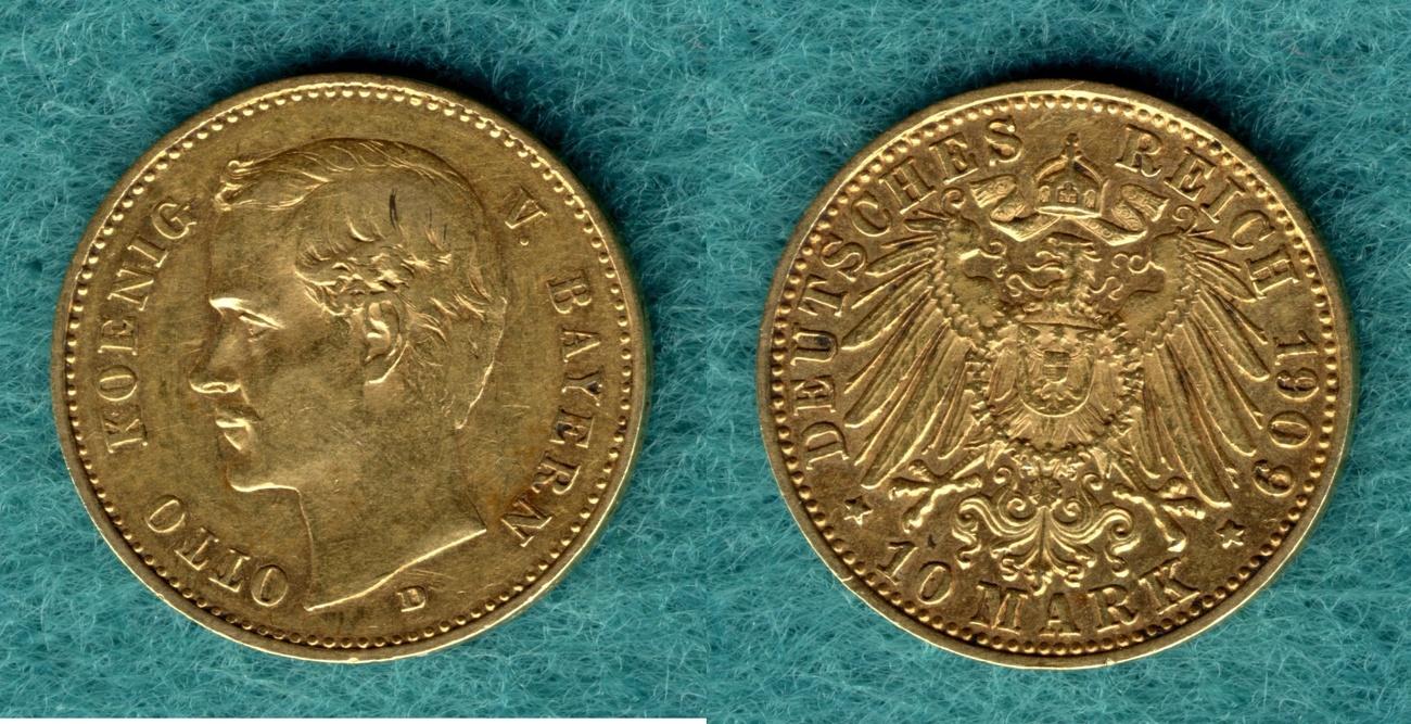 10 Mark 1909 D Bayern Otto ss+