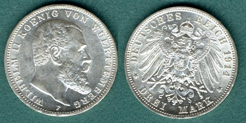 3 Mark 1914 F Württemberg Wilhelm II. vz/stgl.
