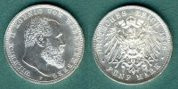 5 Mark 1908 F Württemberg Wilhelm II. fast stgl.  255,00 EUR  zzgl. 4,90 EUR Versand