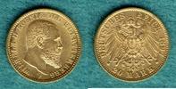 20 Mark 1897 F Württemberg Wilhelm II. vz  375,00 EUR kostenloser Versand