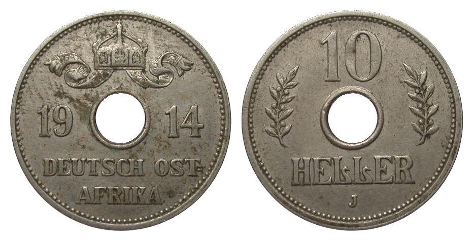 10 Heller 1914 J Kolonien und Nebengebiete gutes sehr schön