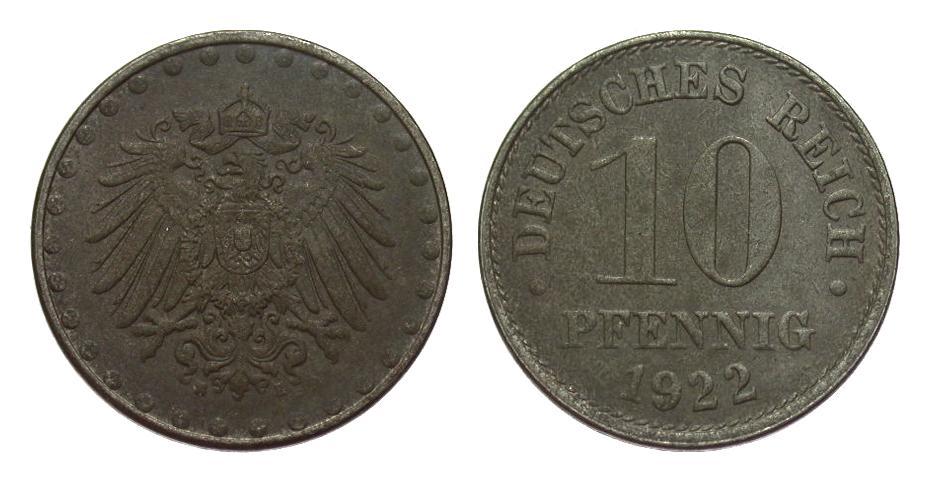 10 Pfennig 1922 E Ersatzmünzen 1. Weltkrieg vz