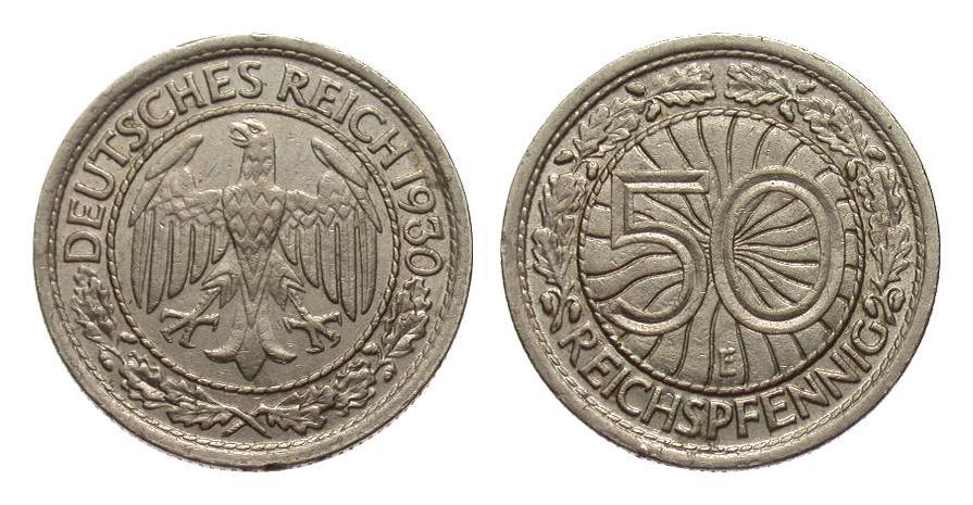 50 Pfennig 1930 E Weimarer Republik sehr schön / vorzüglich