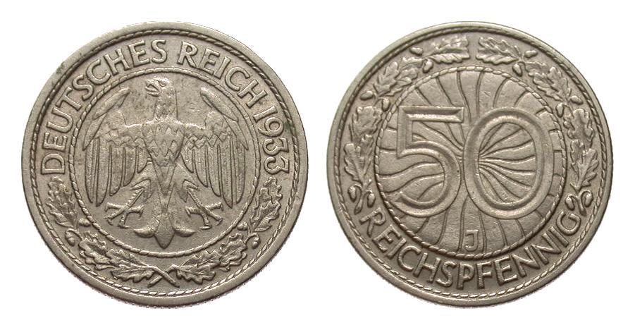 50 Pfennig 1933 J Weimarer Republik sehr schön / vorzüglich