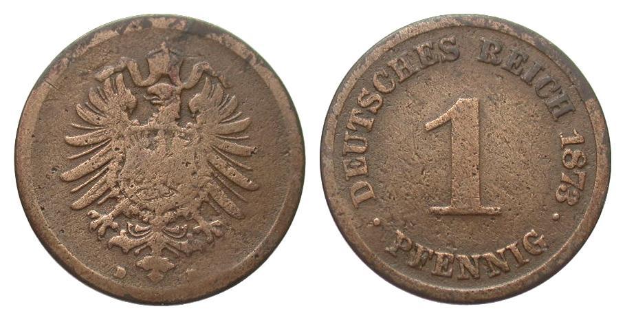 1 Pfennig 1873 D Kaiserreich l. korrodiert, schön