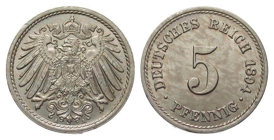 5 Pfennig 1894 A Kaiserreich fast Stempelglanz
