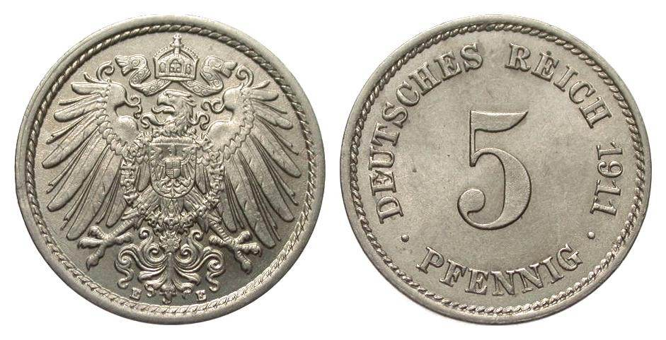 5 Pfennig 1911 E Kaiserreich fast Stempelglanz