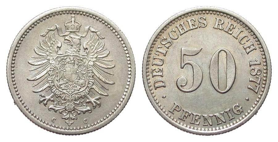 50 Pfennig 1877 C Kaiserreich min. Randfehler, vorzüglich / Stempelglanz