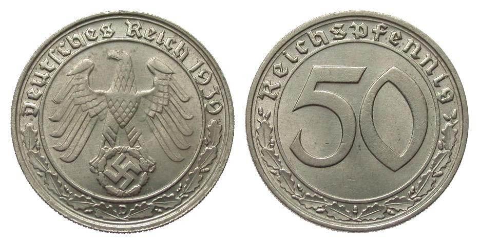 50 Pfennig 1939 D Drittes Reich gutes vorzüglich