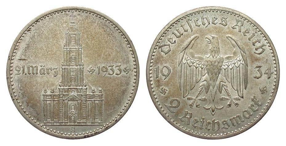 2 Mark Kirche 1934 A Drittes Reich vorzüglich