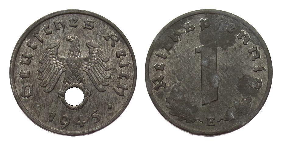 1 Pfennig 1945 E Drittes Reich leicht korrodiert, vorzüglich / Stempelglanz