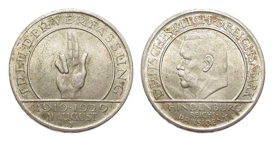 3 Mark Verfassung 1929 F Weimarer Republik fast vorzüglich