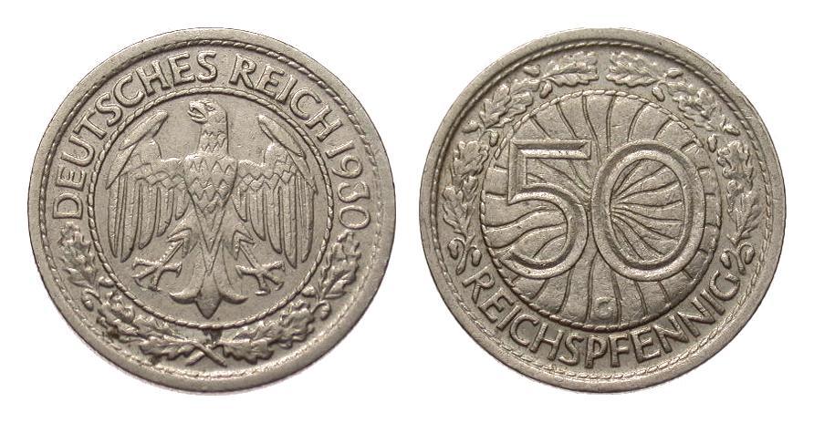 50 Pfennig 1930 G Weimarer Republik sehr schön