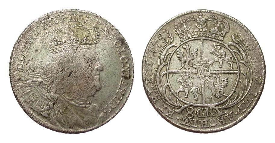 Sachsen / Polen 8 Groschen 1753 Europa (ohne €) besser als sehr schön