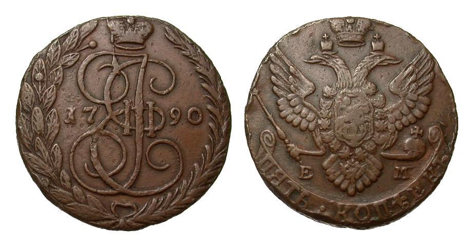 Russland 5 Kopeken 1790 Europa (ohne €) besser als sehr schön