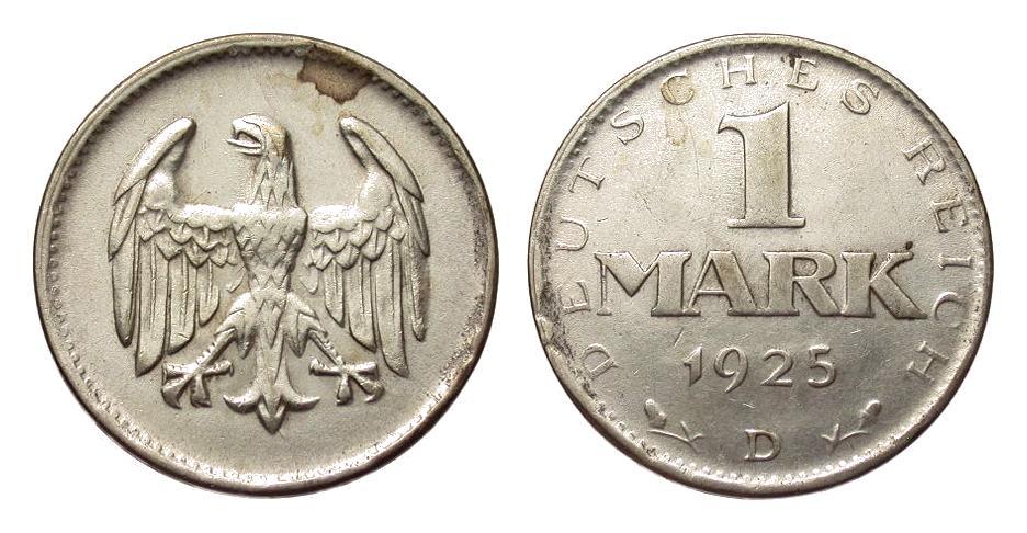 1 Mark 1925 D Weimarer Republik Prägeschwäche, vorzüglich