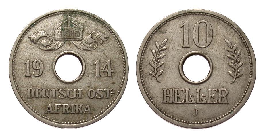 10 Heller 1914 J Kolonien und Nebengebiete besser als sehr schön