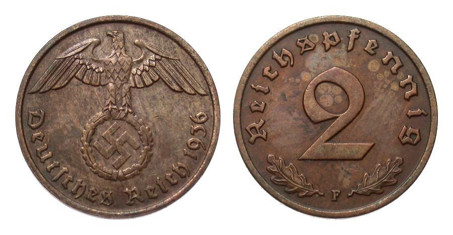 2 Pfennig 1936 F Drittes Reich vorzüglich