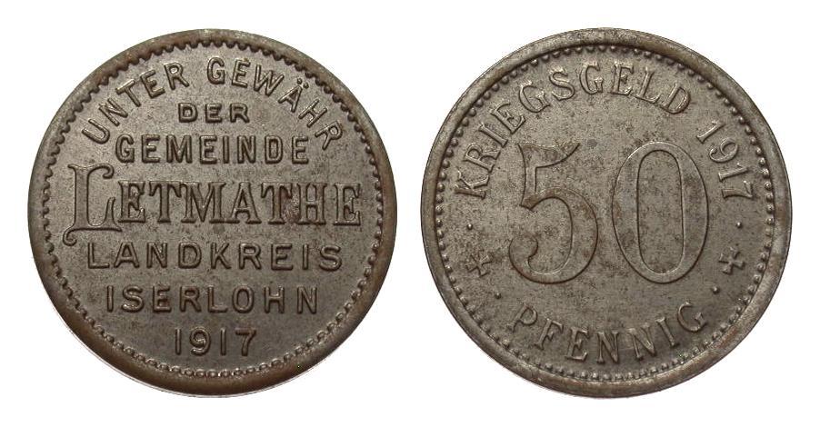 Notgeld 50 Pfennig Letmathe 1917, Eisen Notmünzen Sädte und Gemeinden vorzüglich