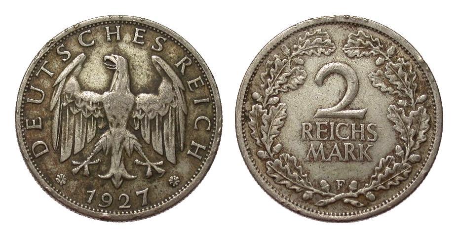 2 Mark 1927 F Weimarer Republik mehrere kl. Randfehler, sehr schön