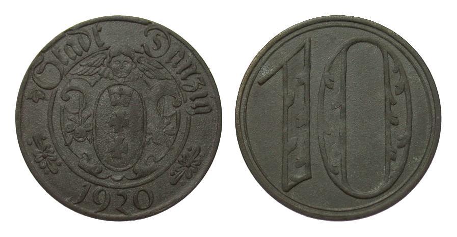 10 Pfennig Danzig 1920 Kolonien und Nebengebiete etwas rauh, besser als vorzüglich
