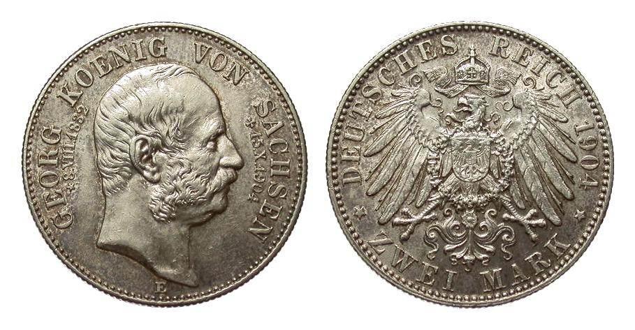 2 Mark Sachsen Georg auf den Tod 1904 E Kaiserreich vorzüglich / Stempelglanz