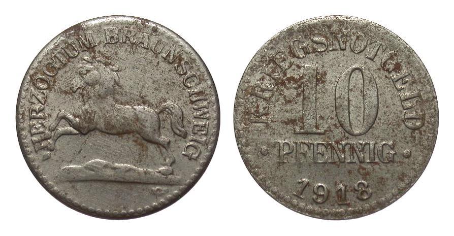 10 Pfennig Eisen 1918 Kolonien und Nebengebiete min. korrodiert, besser als sehr schön