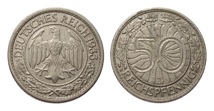 50 Pfennig 1933 J Weimarer Republik besser als sehr schön