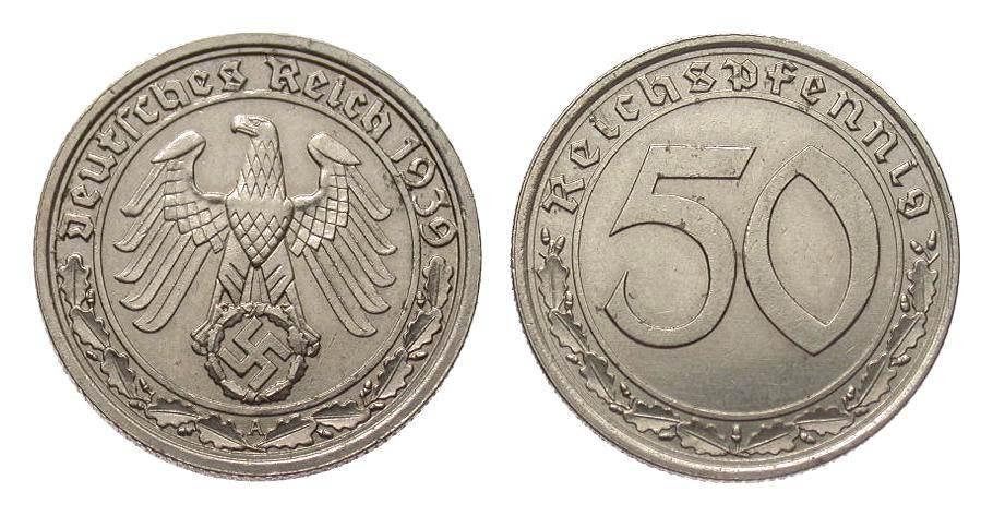 50 Pfennig 1939 A Drittes Reich fast vorzüglich