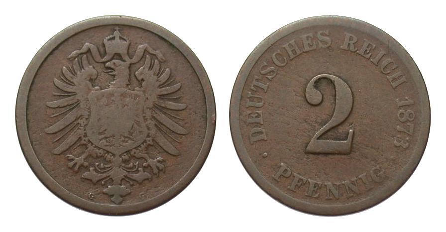 2 Pfennig 1873 G Kaiserreich schön