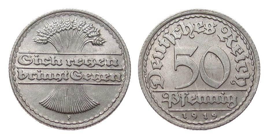 50 Pfennig 1919 F Weimarer Republik vorzüglich / Stempelglanz