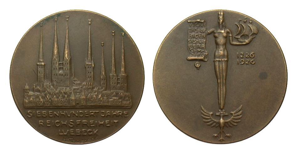 Bronzemedaille 700 Jahre Lückeck 1926 Medaillen kl. Fleck, vorzüglich