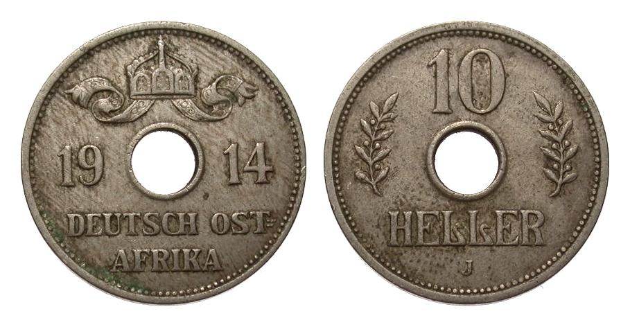 10 Heller 1914 J Kolonien und Nebengebiete sehr schön