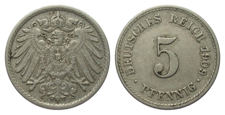 5 Pfennig 1909 F Kaiserreich knapp sehr schön