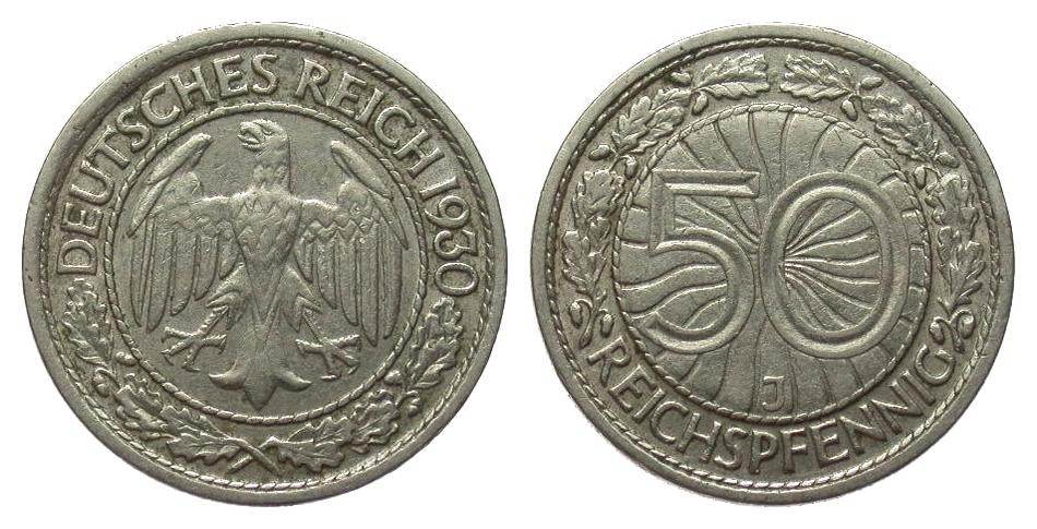 50 Pfennig 1930 J Weimarer Republik gutes sehr schön