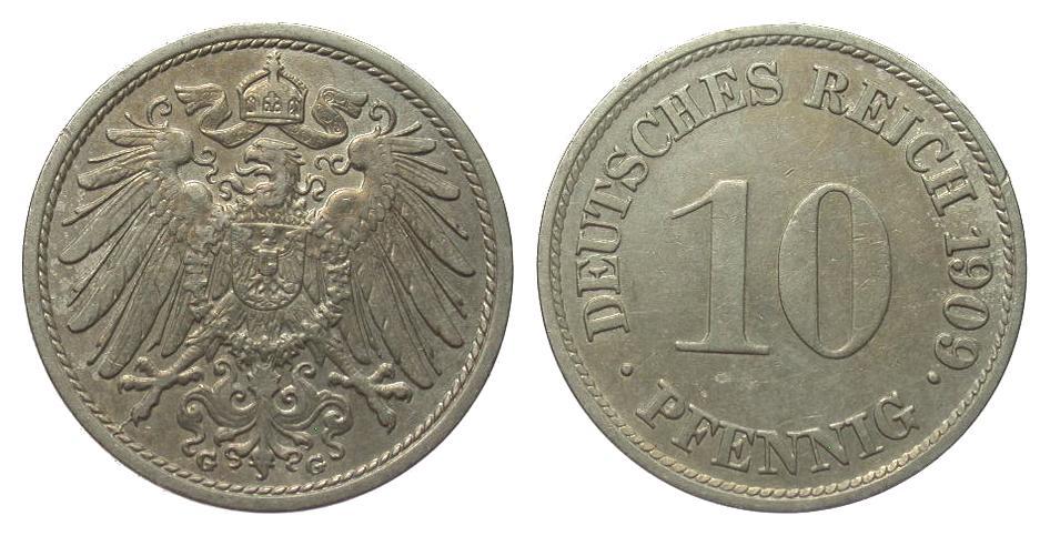 10 Pfennig 1909 G Kaiserreich fast vorzüglich