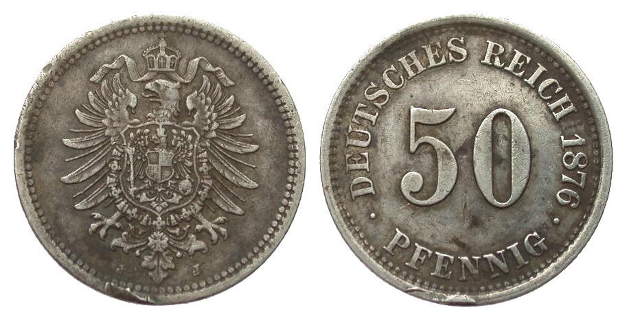 50 Pfennig 1876 J Kaiserreich starke Randfehler, sehr schön