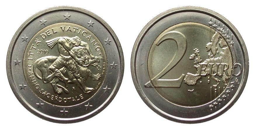 2 Euro Priesterjahr original 2010 Euromünzen prägefrisch im Originalfolder