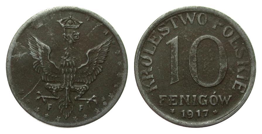 10 Fenigów, Schrift nahe am Rand 1917 F Kolonien und Nebengebiete besser als sehr schön