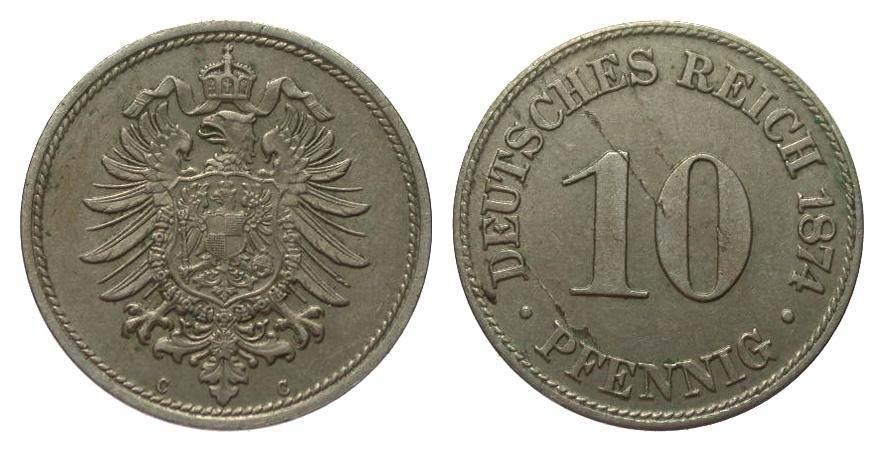10 Pfennig 1874 C Kaiserreich Schrötlingsfehler, gutes vorzüglich
