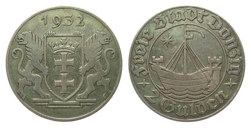 2 Gulden Danzig 1932 Kolonien und Nebengebiete sehr schön