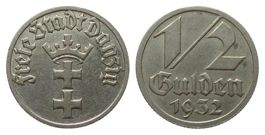 1/2 Gulden Danzig 1932 Kolonien und Nebengebiete besser als sehr schön