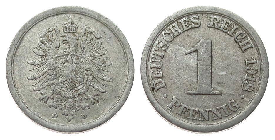 1 Pfennig 1918 D Ersatzmünzen 1. Weltkrieg sehr schön